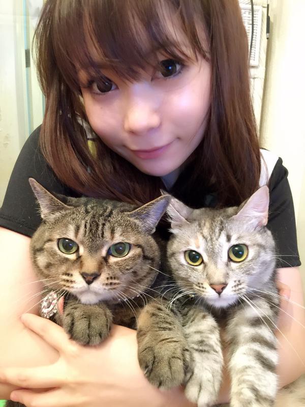 美人猫を腕に抱きしめ微笑む中川翔子