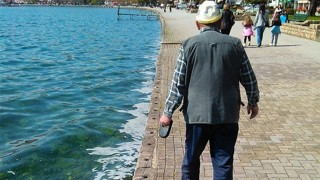 おじいちゃんの犬の散歩